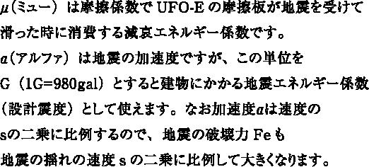 μ(ミュー)は摩擦係数でUFO-Eの摩擦板が地震を受けて滑った時に消費する減哀エネルギー係数です。α(アルファ)は地震の加速度ですが、この単位をG(1G=980gal)とすると建物にかかる地震エネルギー係数(設計震度)として使えます。なお加速度αは速度のsの二乗に比例するので、地震の破壊力Feも地震の揺れの速度sの二乗に比例して大きくなります。